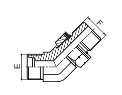 1CH4-OG/1DH4-OG 45°弯公制外螺纹24°锥/公制外螺纹可调向柱端